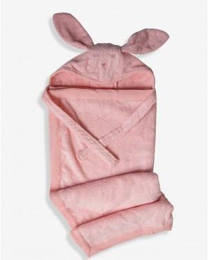 מגבת רחצה לתינוק עם קשירה לצוואר - צבעי בנות לבחירה - מבית מיננה