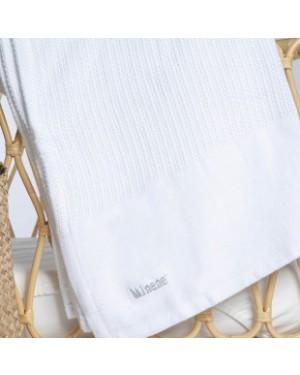 שמיכה סרוגה 100% כותנה צבע לבן