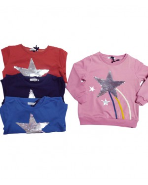חולצה פייטים מחליף צבע שרוול ארוך מידות 2-12