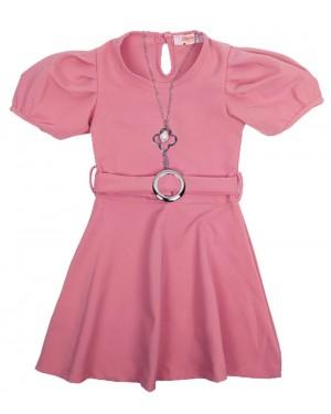 שמלה שרוולים נפוחים צבע ורוד עתיק מידות 2-7