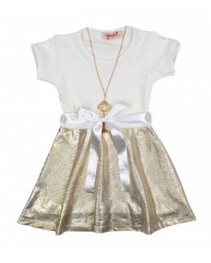 שמלה תחרה שמנת זהב מידות 2-7