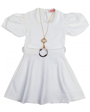 שמלה שרוולים נפוחים צבע לבן מידות 2-7