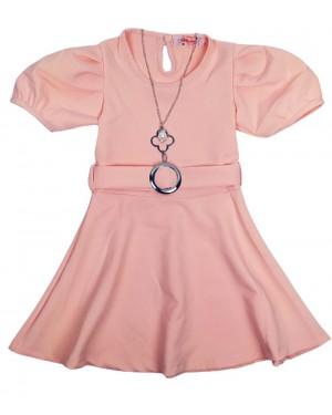 שמלה שרוולים נפוחים צבע אפרסק מידות 2-7