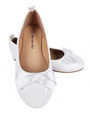 נעלי בובה צבע לבן מבריק לילדות במידות 29-34