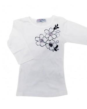 חולצת 3/4 בנות מודפסת פרחים