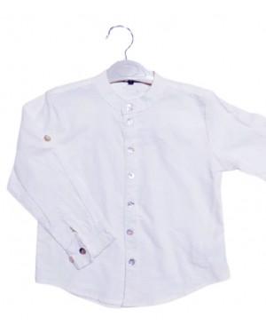 חולצה לבנה צווארון סיני בנים מידות 4-16