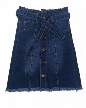 חצאית ג'ינס ארוכה עם כפתורים | כחול כהה