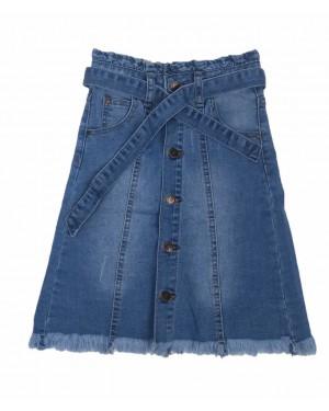 חצאית ג'ינס ארוכה עם כפתורים | כחול בהיר