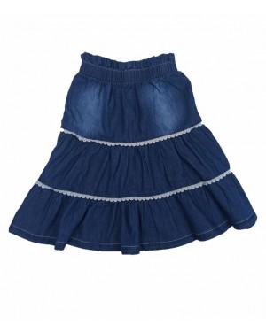 חצאית ג'ינס קומות עם תחרה | כחול כהה