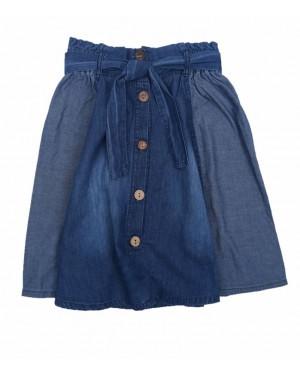 חצאית ג'ינס עם כפתורים | כחול בהיר