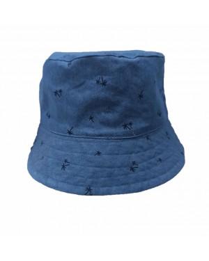 כובע רחב שוליים לתינוק | MINENE | צבע ג'ינס כחול עם דקלים