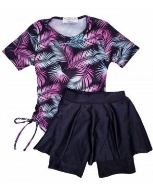 בגד ים בנות טייץ חצאית מעוצב תכלת סגול