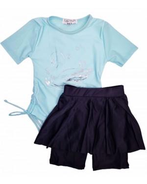 בגד ים טייץ חצאית מעוצב צבע תכלת