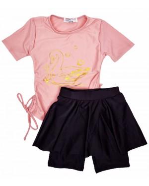 בגד ים טייץ חצאית מעוצב צבע ורוד בייבי