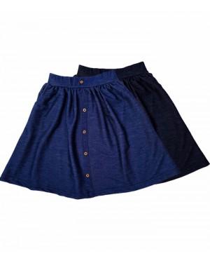 חצאית דמוי ג'ינס עם כפתורים מעוצבים