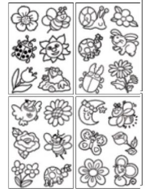 מדבקות שקפים- פרחים ופרפרים