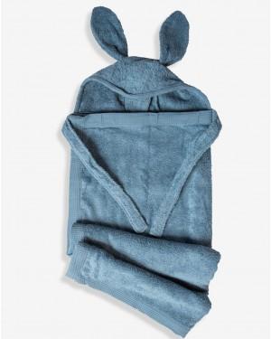 מגבת רחצה לתינוק עם קשירה לצוואר - צבעי בנים לבחירה - מבית מיננה