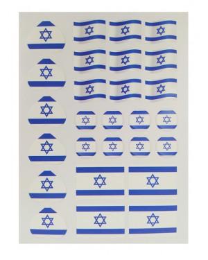 מדבקות דגל ישראל 10 דפים באריזה