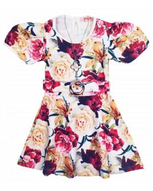 שמלה פרחונית שרוולים נפוחים מידות 2-7