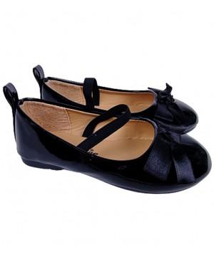 נעלי בובה לבנות צבע שחור מבריק מידות 23-28