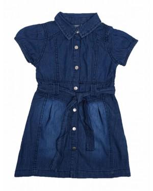שמלת ג'ינס מעוצבת | גינס כחול כהה