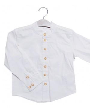 חולצה לבנה צווארון סיני בנים כפתור מעוצב מידות 4-16