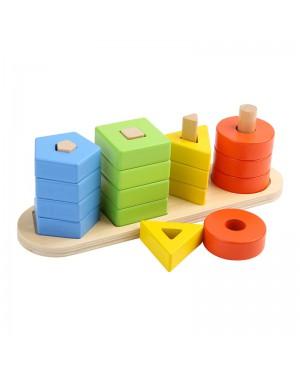עמודי מיון צורות 4 צורות שונות בצבעים שונים מעץ מלא