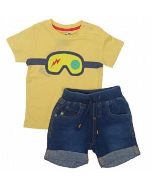חליפה חולצה קצרה ומכנס גינס |  6-24 M |  בנים