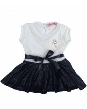 שמלה תחרה שמנת שחור מידות חודשים 6-36