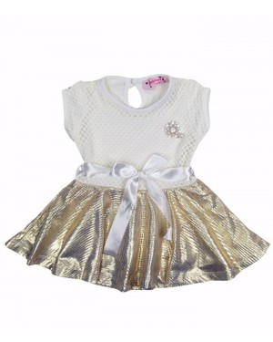 שמלה תחרה שמנת זהב מידות חודשים 6-36