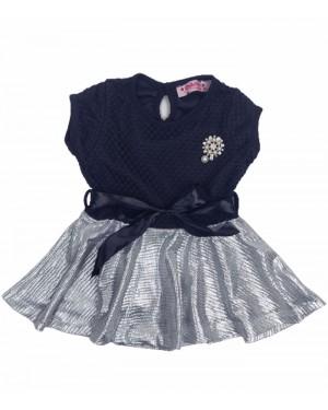 שמלה תחרה שחור כסף מידות חודשים 6-36