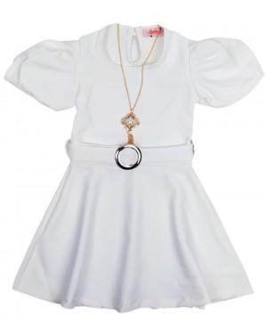 שמלה שרוולים נפוחים צבע לבן מידות 8-18