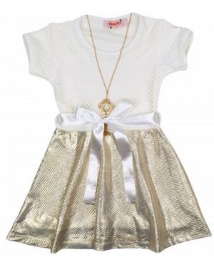 שמלה תחרה שמנת זהב מידות 8-18