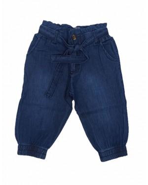 מכנס גינס 3/4 מעוצב לבנות | גינס כחול כהה