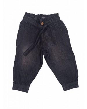 מכנס גינס 3/4 מעוצב לבנות | גינס שחור