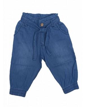 מכנס גינס 3/4 מעוצב לבנות | גינס כחול בהיר