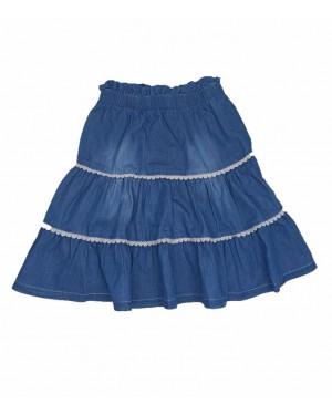 חצאית ג'ינס קומות עם תחרה | כחול בהיר
