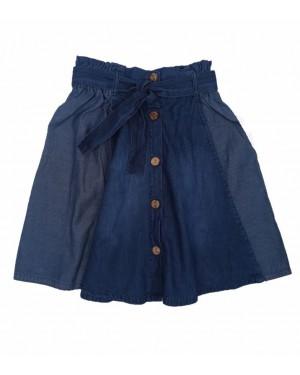 חצאית ג'ינס עם כפתורים | כחול כהה