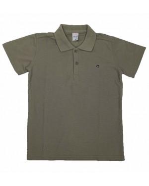 חולצה קצרה פולו לנוער   צבע ירוק צבא