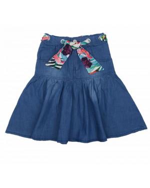 חצאית ג'ינס עם חגורה פרחונית | כחול בהיר