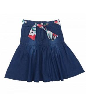 חצאית ג'ינס עם חגורה פרחונית | כחול כהה