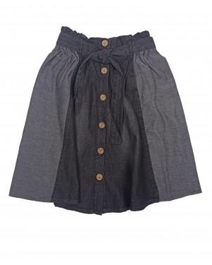 חצאית ג'ינס עם כפתורים | שחור