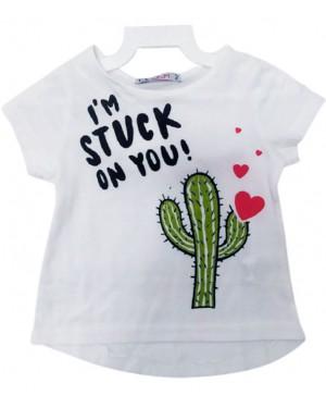 חולצת בנות קצרה הדפס קקטוס