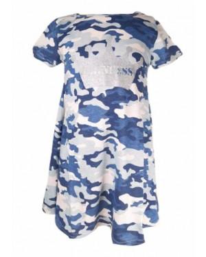 שמלה גווני כחול דלתא| מידות 2-10