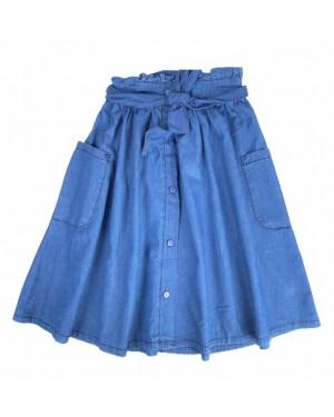 חצאית ג'ינס כותנה עם כיסים| כחול בהיר