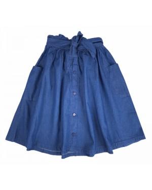 חצאית ג'ינס כותנה עם כיסים| כחול כהה