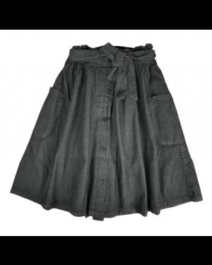 חצאית ג'ינס כותנה עם כיסים| שחור